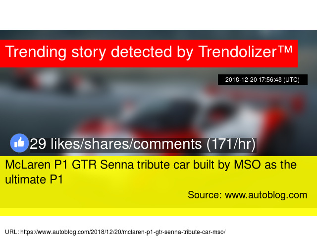 Mclaren P1 Gtr Senna Tribute Car Built By Mso As The Ultimate P1