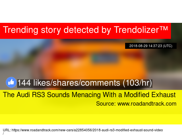 The Audi RS3 Sounds Menacing With a Modified Exhaust